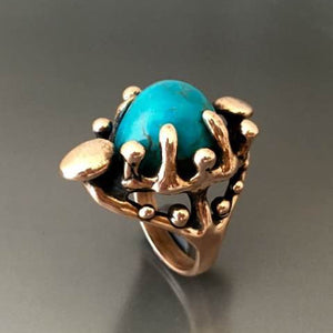 Carved Bronze Ring with Turquoise - JACK BOYD ART STUDIO and RON BOYD DESIGNS