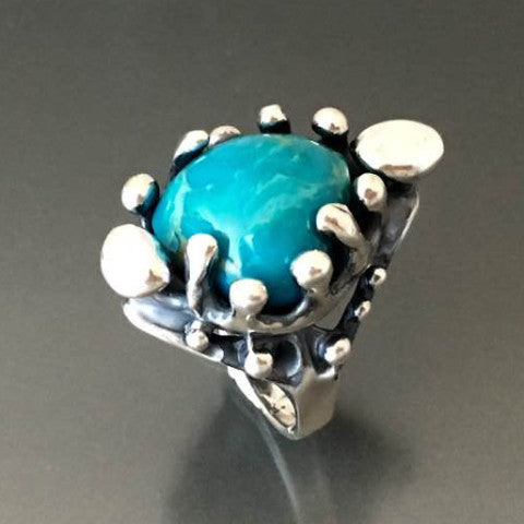 Carved Sterling Silver Ring with Turquoise - JACK BOYD ART STUDIO and RON BOYD DESIGNS