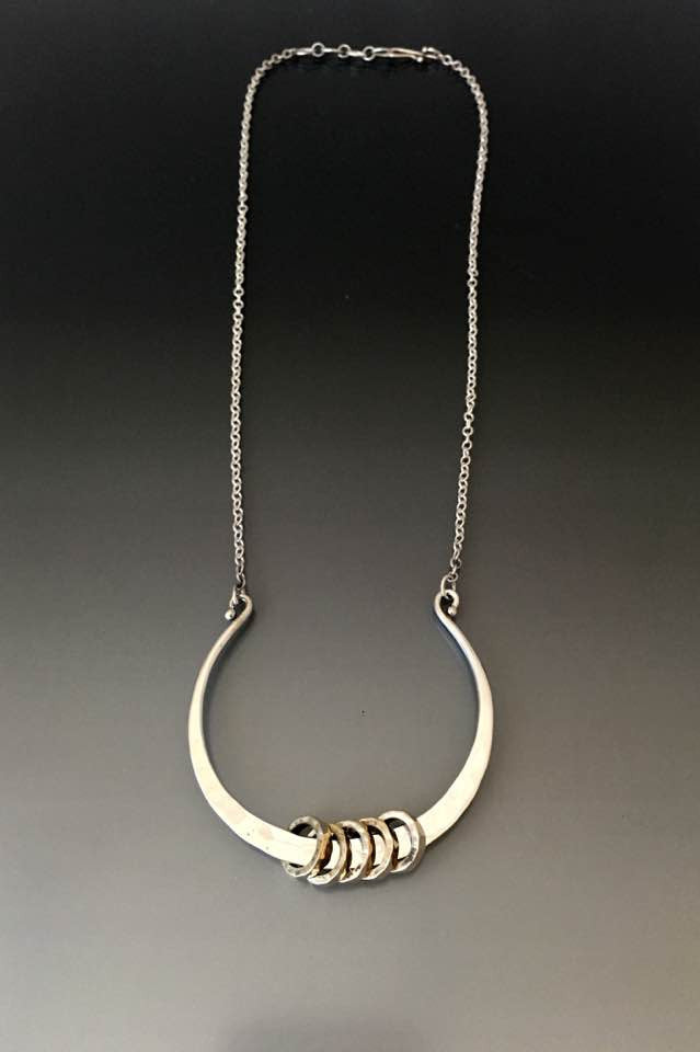 Hammered Horse Shoe Necklace with Rings - JACK BOYD ART STUDIO and RON BOYD DESIGNS