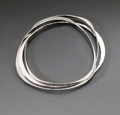 Sterling Silver Bracelet with Three Interlocking Shapes - JACK BOYD ART STUDIO and RON BOYD DESIGNS