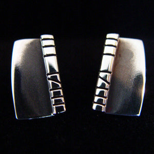 Sterling Silver Cufflinks with Contemporary Etching Design - JACK BOYD ART STUDIO and RON BOYD DESIGNS