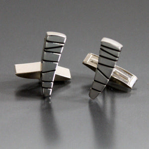 Sterling Silver Cufflinks with Modernist Etched Design - JACK BOYD ART STUDIO and RON BOYD DESIGNS