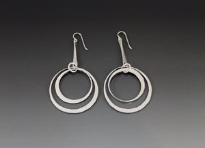 Sterling Silver Dangle Earrings with Double Loops - JACK BOYD ART STUDIO and RON BOYD DESIGNS