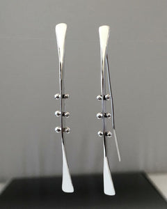 Sterling Silver Dangle Earrings with Peg Accent - JACK BOYD ART STUDIO and RON BOYD DESIGNS