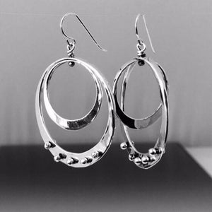 Sterling Silver Double Loop Earrings with Peg Accent - JACK BOYD ART STUDIO and RON BOYD DESIGNS