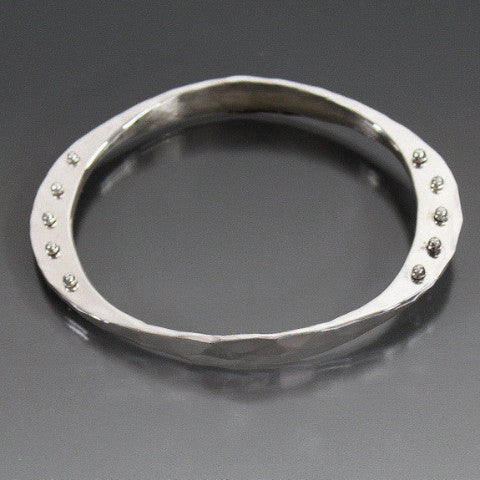 Sterling Silver Large Gauge Oval Shape Bracelet with Peg Accent - JACK BOYD ART STUDIO and RON BOYD DESIGNS