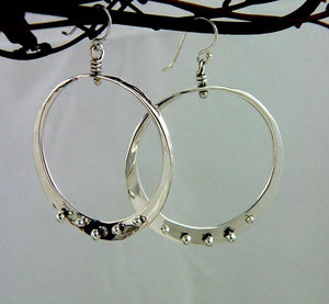 Sterling Silver Loop Earrings With Peg Accent - JACK BOYD ART STUDIO and RON BOYD DESIGNS