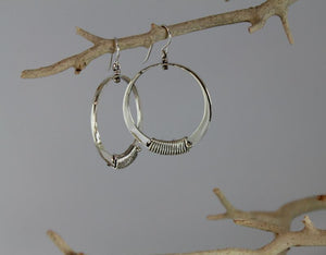 Sterling Silver Medium Loop Earrings with Wire Wrap Accent - JACK BOYD ART STUDIO and RON BOYD DESIGNS