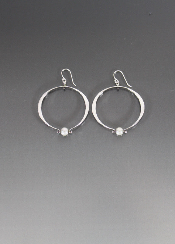 Sterling Silver Medium Loop Oval Shape Earrings with Pearl - JACK BOYD ART STUDIO and RON BOYD DESIGNS