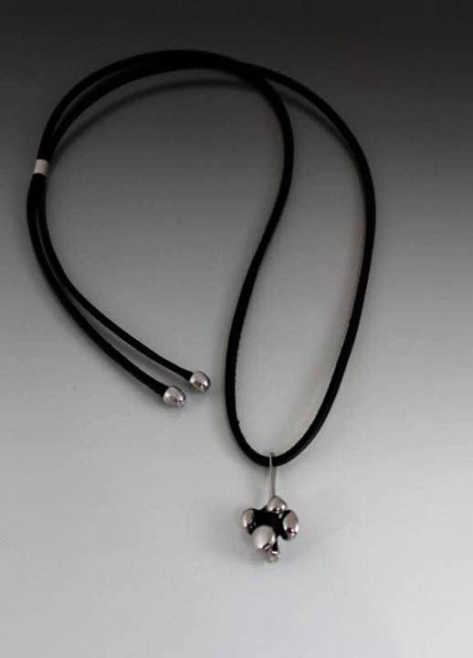 Sterling Silver Necklace with Brutalist Bubble Charm Pendant - JACK BOYD ART STUDIO and RON BOYD DESIGNS