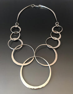 Sterling Silver Necklace with Interlocking Loops - JACK BOYD ART STUDIO and RON BOYD DESIGNS