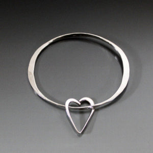 Sterling Silver Oval Shape Bracelet with Heart - JACK BOYD ART STUDIO and RON BOYD DESIGNS