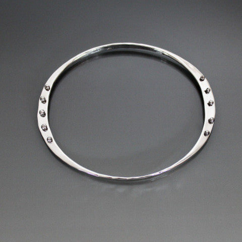 Sterling Silver Oval Shape Bracelet with Peg Accent - JACK BOYD ART STUDIO and RON BOYD DESIGNS