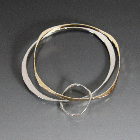 Sterling Silver Oval and Bronze Square Shape Bracelet - JACK BOYD ART STUDIO and RON BOYD DESIGNS