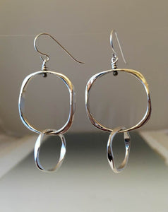 Sterling Silver Small Square Earrings with Sterling Silver Small Loop - JACK BOYD ART STUDIO and RON BOYD DESIGNS