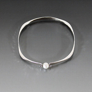 Sterling Silver Square Shape Bracelet with Pearl - JACK BOYD ART STUDIO and RON BOYD DESIGNS