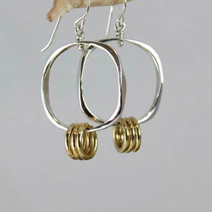Sterling Silver Square Shape Earrings with Three Bronze Rings - JACK BOYD ART STUDIO and RON BOYD DESIGNS