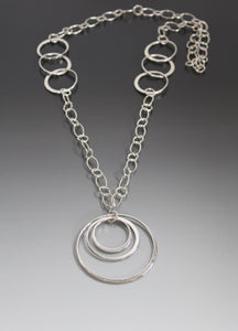 Sterling Silver Three Loop Pendant Necklace - JACK BOYD ART STUDIO and RON BOYD DESIGNS