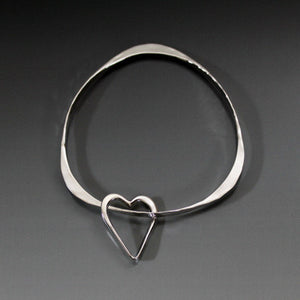 Sterling Silver Triangle Shape Bracelet with Heart Dangle - JACK BOYD ART STUDIO and RON BOYD DESIGNS