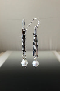 Sterling Silver Dangle Earrings with Elegant Wire Wrap - JACK BOYD ART STUDIO and RON BOYD DESIGNS