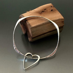 Sterling Silver Square Bracelet with Heart Dangle - JACK BOYD ART STUDIO and RON BOYD DESIGNS