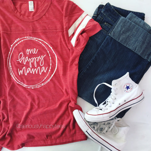 One Happy Mama Unisex Football Tee
