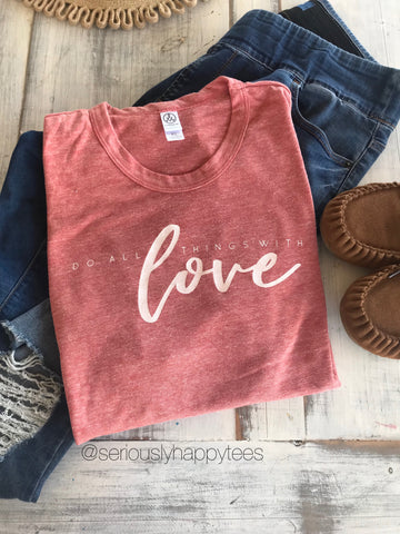 Do All Things With Love Eco Red Unisex Tee