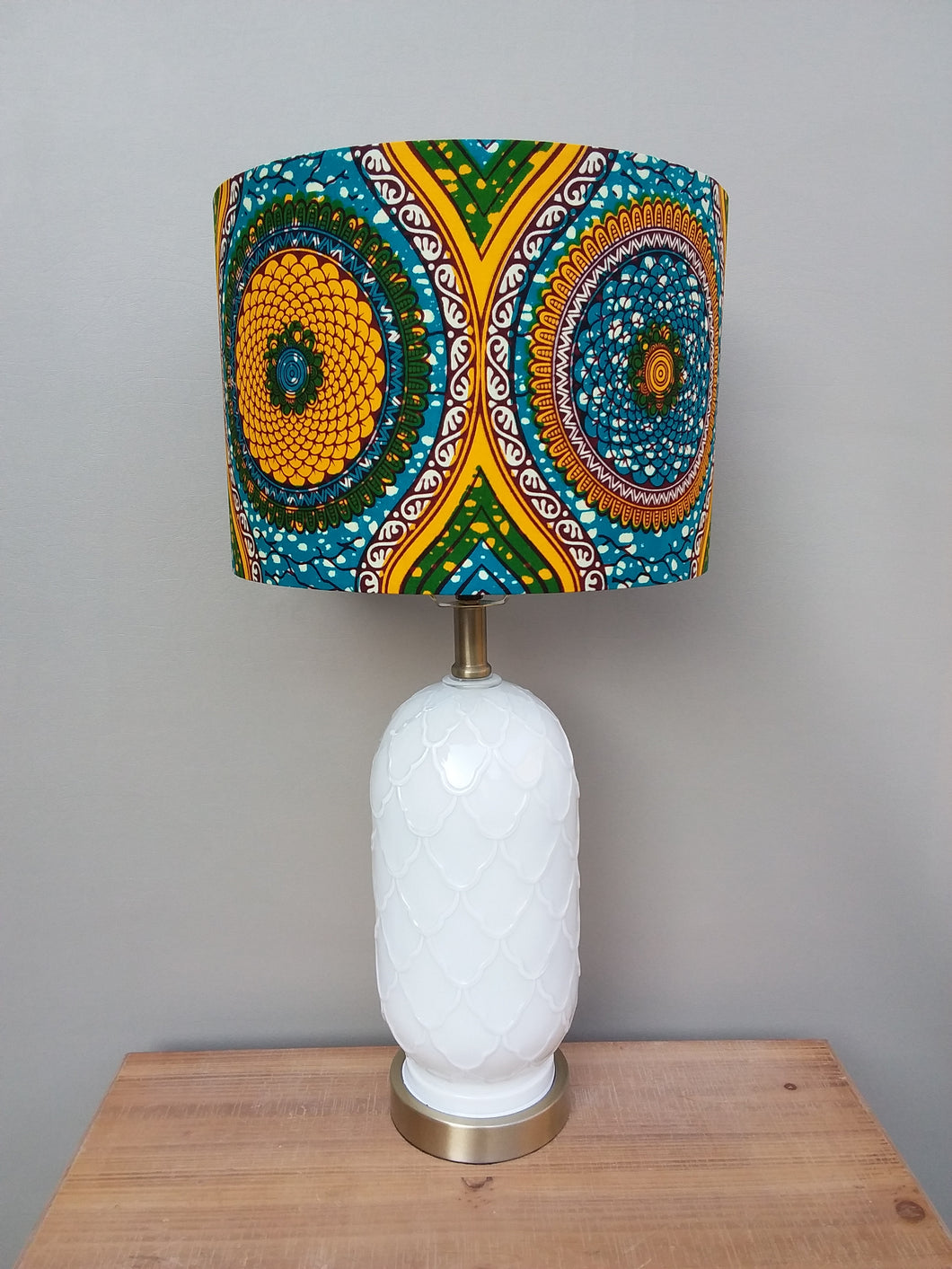 Gold Blue with a touch of Green Waxprint Lampshade