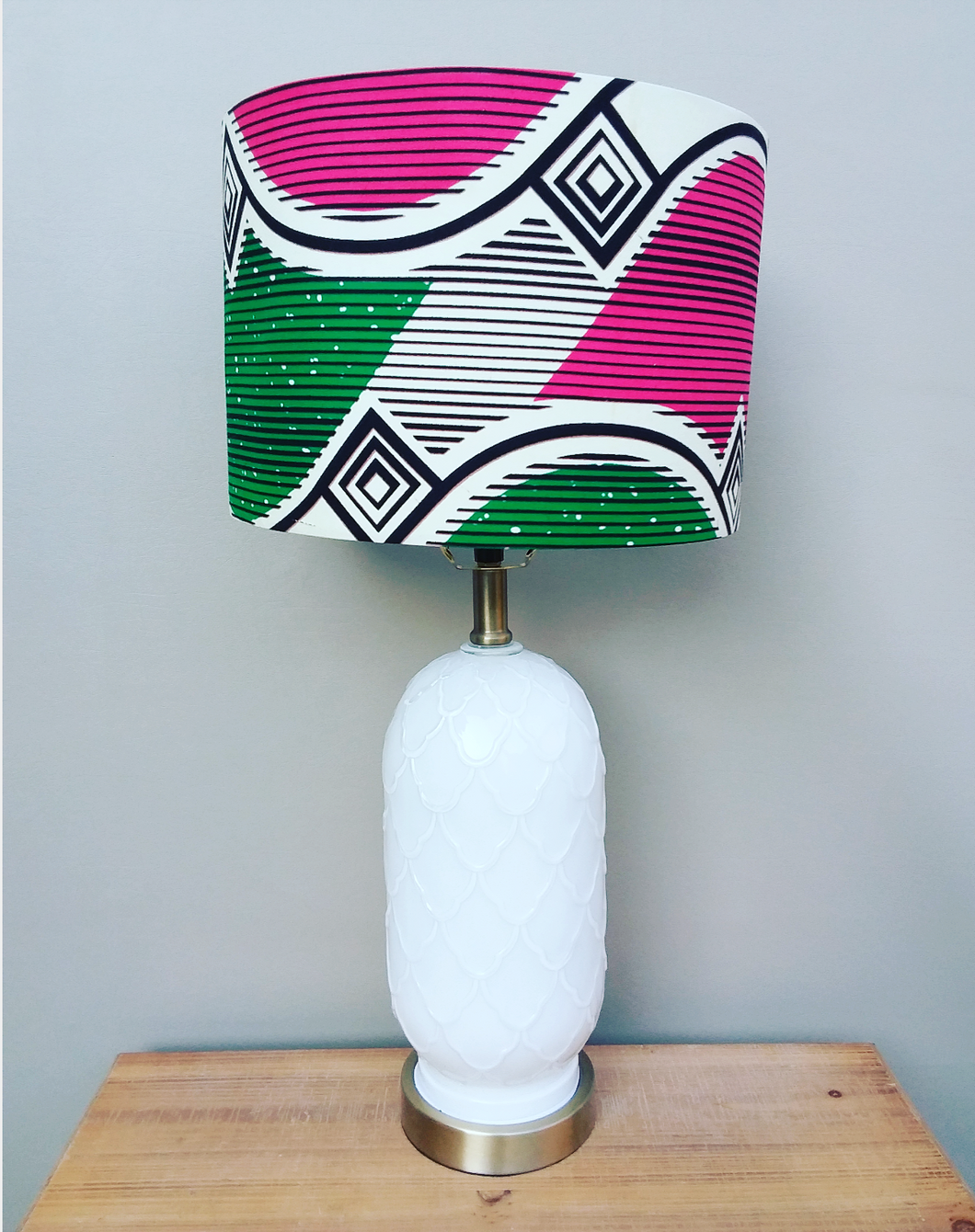 Pink White and Green Waxprint Lampshade