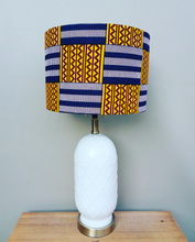 Blue Kente with Burgundy Waxprint Lampshade