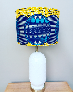 Blue and Gold Waxprint Lampshade