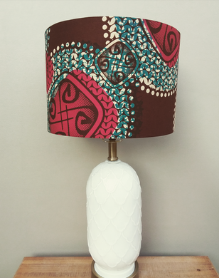 Burgundy and Blue Waxprint Lampshade