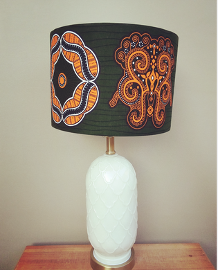 Hunter Green and Orange Waxprint Lampshade