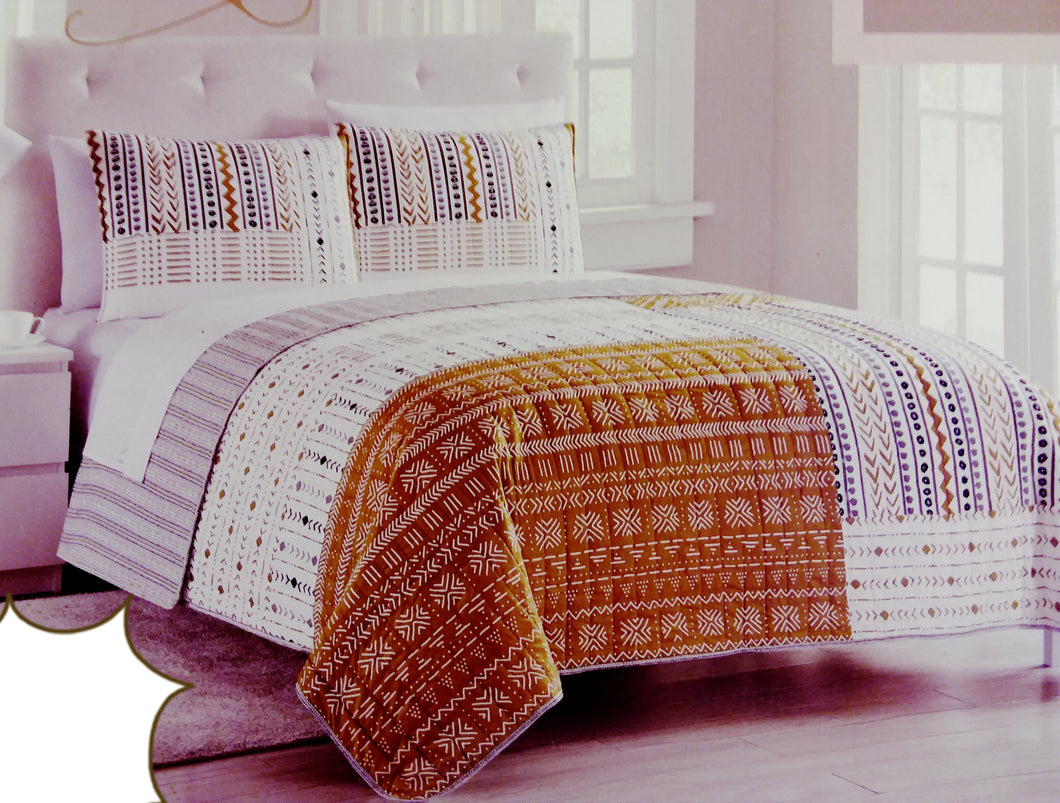Mustard Mudcloth Bed Quilt