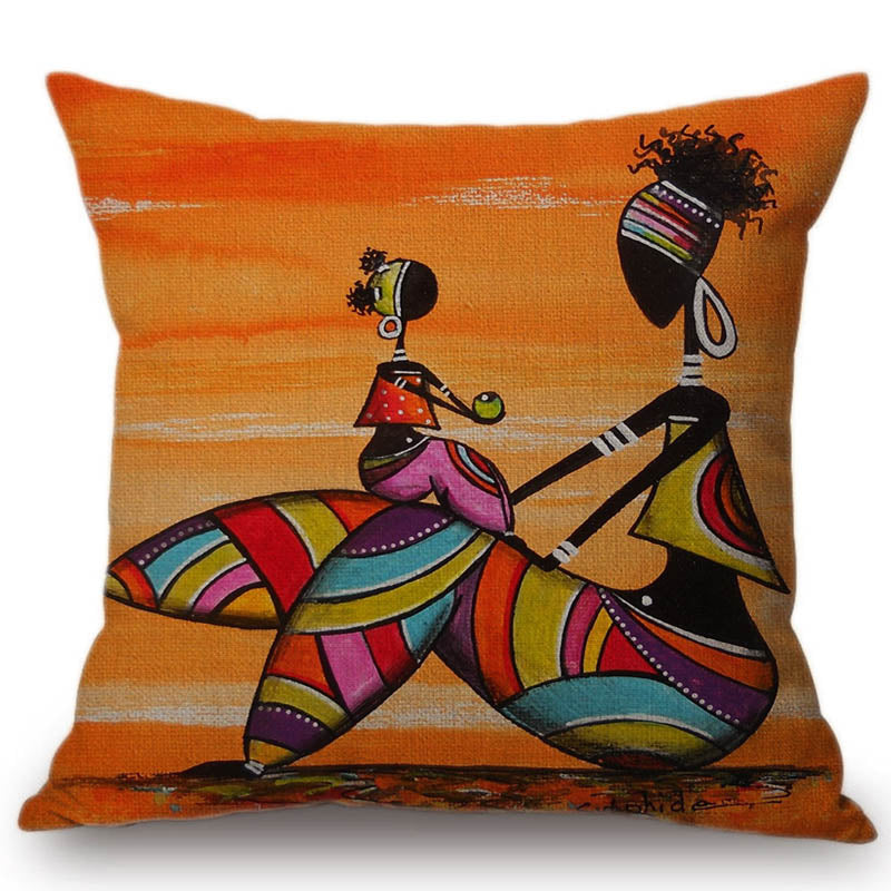 Orange African Painted Pillow- The AfroChic Boutique