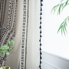 White and Black Mudcloth Print Window Curtains