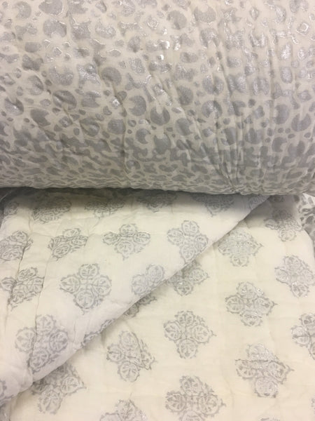 Grand Suzani<br> Hand Stitched Quilt<br>Colour Silver Leaf
