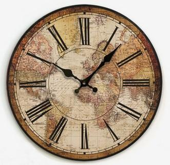 Vintage World Map Wall Clock Go Steampunk