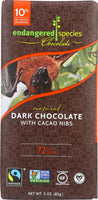 ENDANGERED SPECIES: Natural Dark Chocolate Bar with Cacao Nibs, 3 oz
