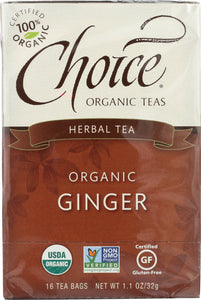 CHOICE TEA: Herbal Ginger Tea, 16 bg