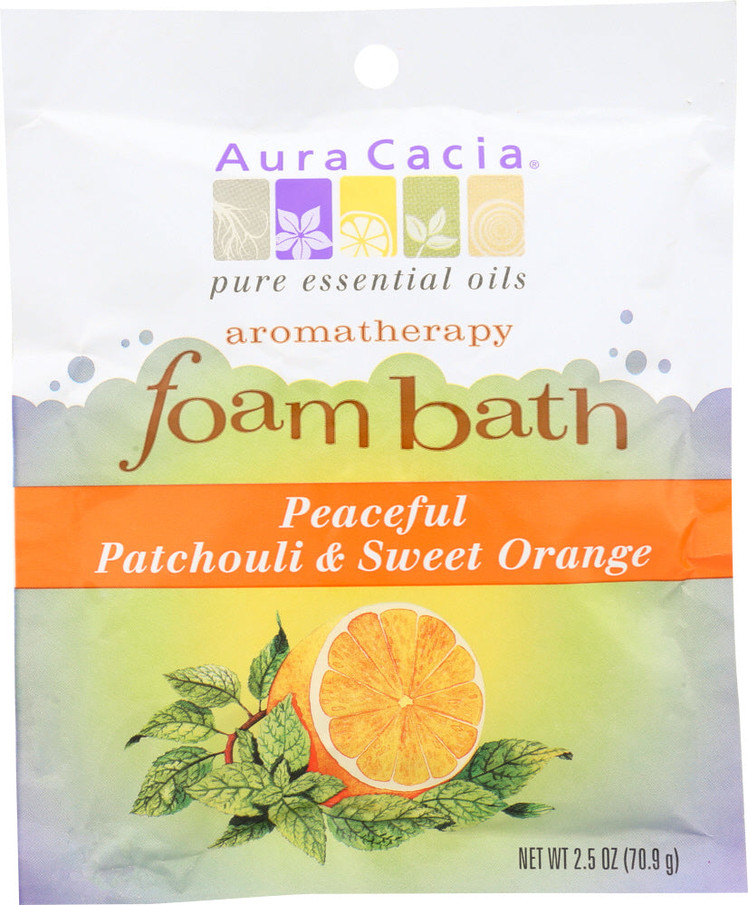 AURA CACIA: Peaceful Patchouli and Sweet Orange Foam Bath, 2.5 oz - Go Steampunk