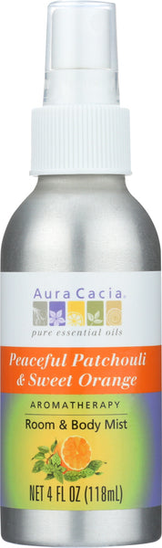 AURA CACIA: Peaceful Patchouli & Sweet Orange Room & Body Mist, 4 oz - Go Steampunk