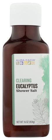 AURA CACIA: Clearing Eucalyptus Shower Salt, 16 oz - Go Steampunk