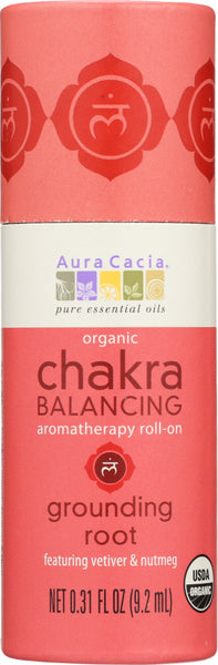 AURA CACIA: Chakra Balancing Aromatherapy Roll-On Grounding Root, 0.31 oz