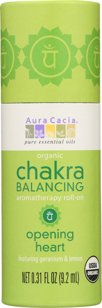 AURA CACIA: Chakra Balancing Aromatherapy Roll-On Opening Heart, 0.31 oz - Go Steampunk