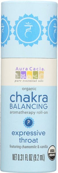 AURA CACIA: Chakra Balancing Aromatherapy Roll On Expressive Throat, 0.31 oz - Go Steampunk