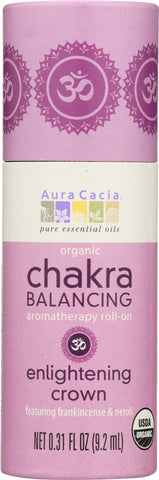 AURA CACIA: Organic Enlightening Crown Chakra Balancing Roll On, 0.31 oz - Go Steampunk