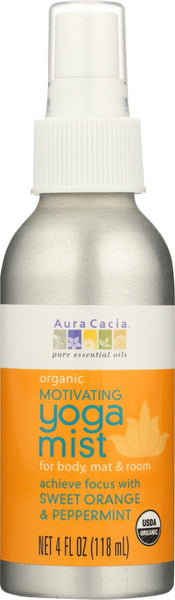 AURA CACIA: Organic Motivating Yoga Mist Sweet Orange & Peppermint, 4 oz