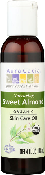 AURA CACIA: Organic Skin Care Oil Nuturing Sweet Almond, 4 oz - Go Steampunk