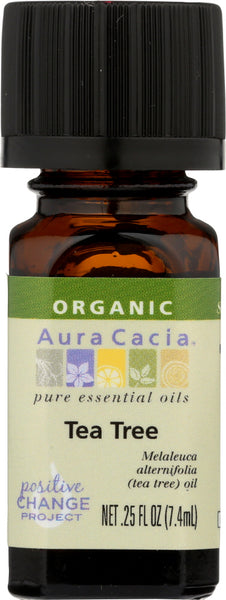 AURA CACIA: Organic Tea Tree Essential Oil, 0.25 oz - Go Steampunk